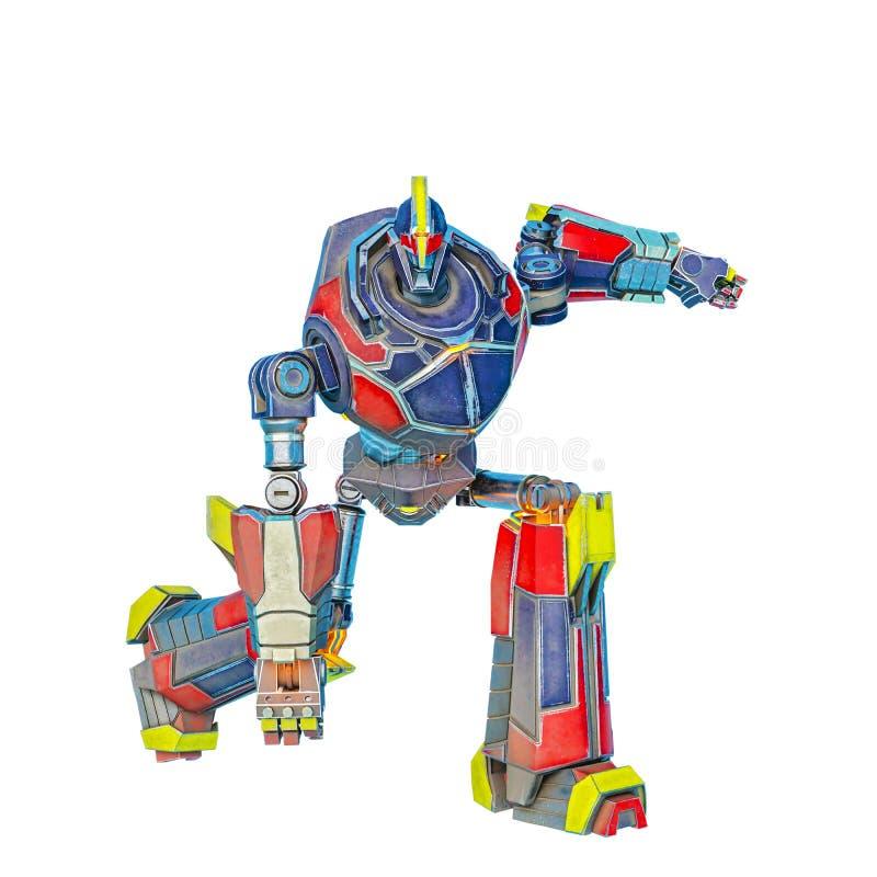El gran robot está listo en un bacground blanco stock de ilustración