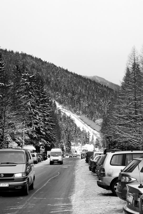 El gran viga polaco de los medios del krokiew de Krokiew los 9in es el - el más grande - de saltos de esquí empleado la cuesta de foto de archivo libre de regalías