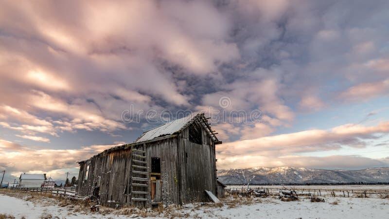 El granero de la granja en invierno con mañana coloreó las nubes sobre él imagenes de archivo