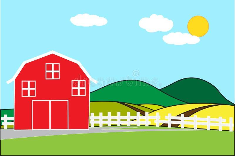 El granero rojo en una colina en la zona rural del arroz coloca en un día brillante y un espacio vacío para el texto libre illustration