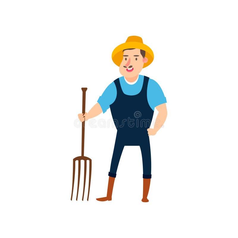 El granjero con los bieldos listos para cosechar granjeros planos del diseño fijó vector del ejemplo stock de ilustración