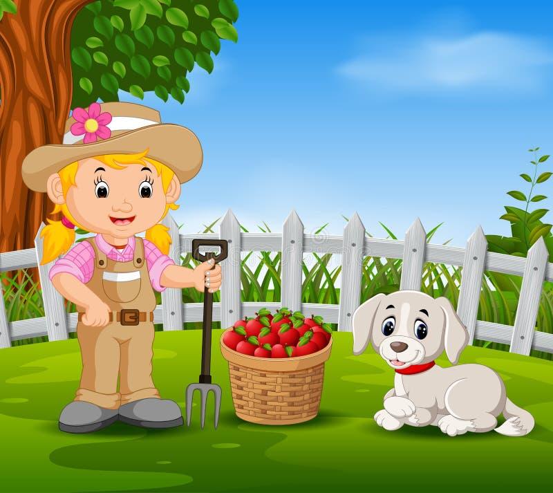 El granjero joven cerca el suyo cosechó las frutas stock de ilustración