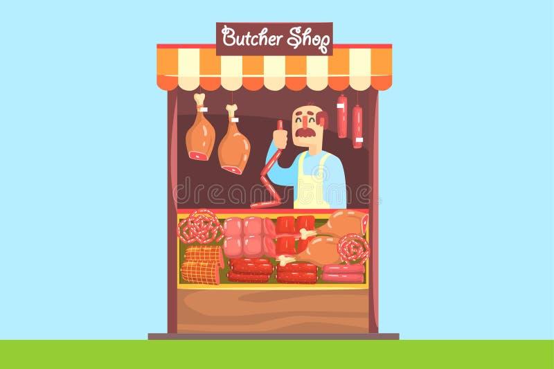 El granjero vende en la carne de venta de la granja de propia producción Salchicha, tocino, pollo ahumado Estilo plano moderno Ve stock de ilustración