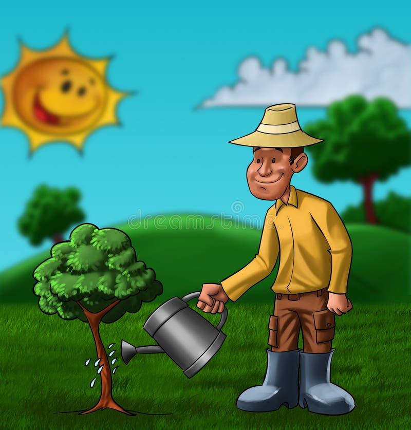 El granjero y la planta ilustración del vector