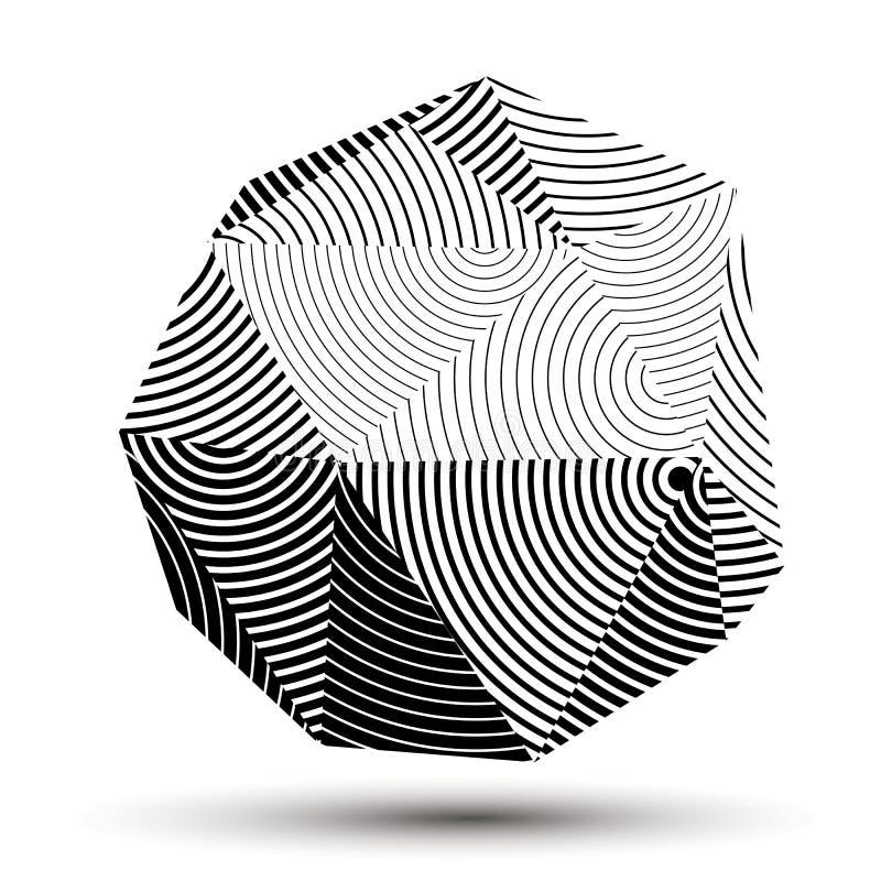 El grayscale abstracto complicado 3D rayó la forma, vector digital libre illustration