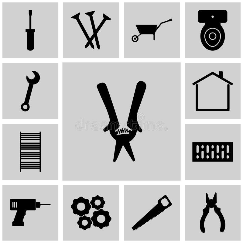El gris de los iconos, cuadrado,/tijeras de podar del vector,/iconos fijó el instrumento ilustración del vector