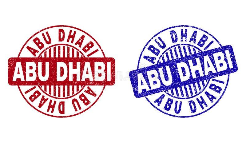 El Grunge ABU DHABI rasguñó los sellos redondos del sello stock de ilustración