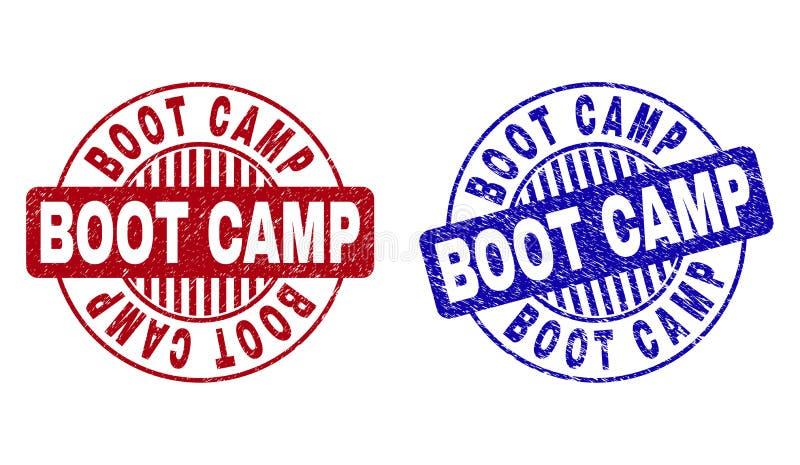 El Grunge BOOT CAMP rasguñó sellos redondos ilustración del vector