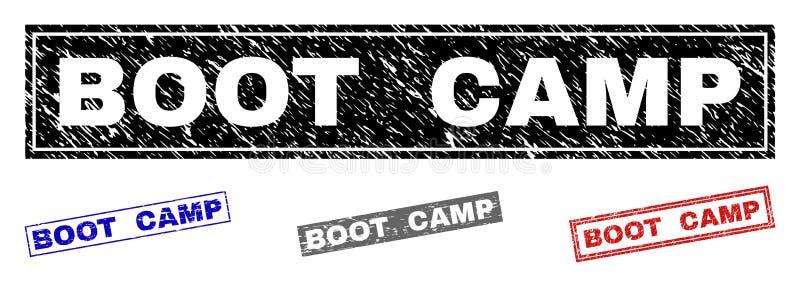 El Grunge BOOT CAMP texturizó sellos del rectángulo ilustración del vector