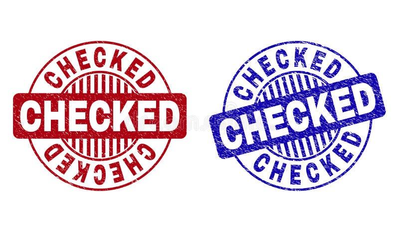 El Grunge COMPROBÓ los sellos redondos texturizados del sello stock de ilustración