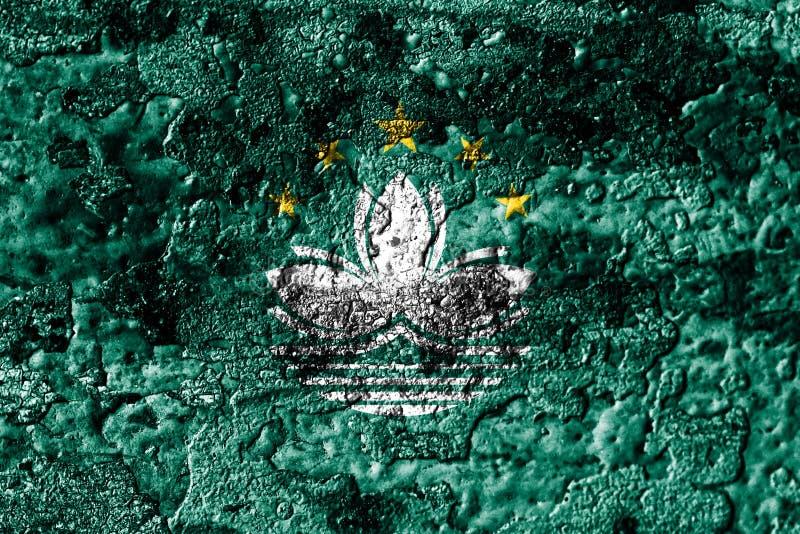 El grunge de Macao aherrumbró bandera de la textura del metal, fondo del metal del moho stock de ilustración