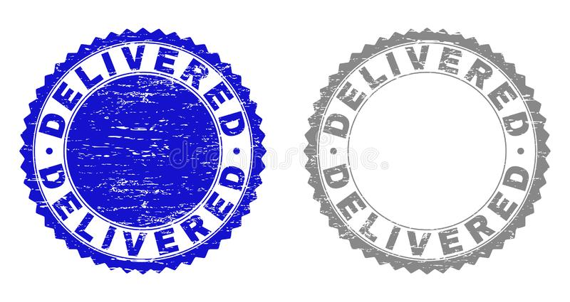 El Grunge ENTREGÓ sellos texturizados stock de ilustración