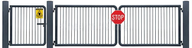 El Grunge envejeció la muestra resistida de la parada de la puerta de la barrera del camino, advertencia amarilla de la patrulla d fotos de archivo libres de regalías