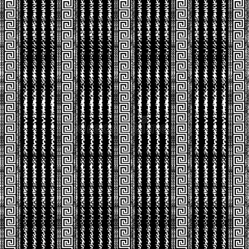 El Grunge marca el modelo inconsútil de las fronteras con tiza del vector griego blanco y negro rayado Fondo geométrico ornamenta libre illustration