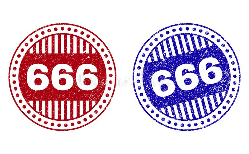 El Grunge 666 rasguñó sellos redondos ilustración del vector