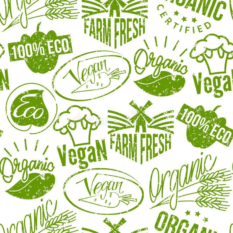 El grunge retro de la calidad del eco del vegano del sello del logotipo de la marca superior del producto badges el fondo inconsú stock de ilustración