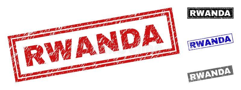 El Grunge RWANDA rasguñó sellos del rectángulo stock de ilustración
