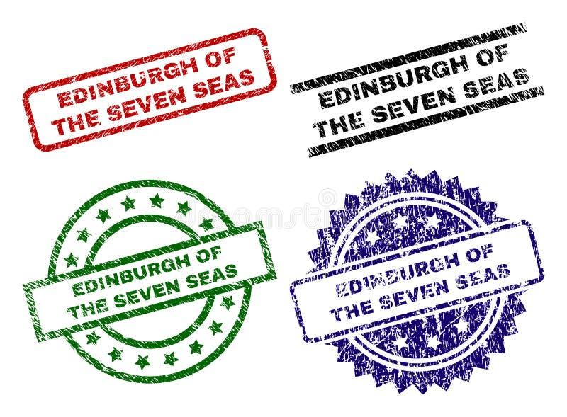 El Grunge texturizó EDIMBURGO de los SIETE sellos del sello de los MARES stock de ilustración