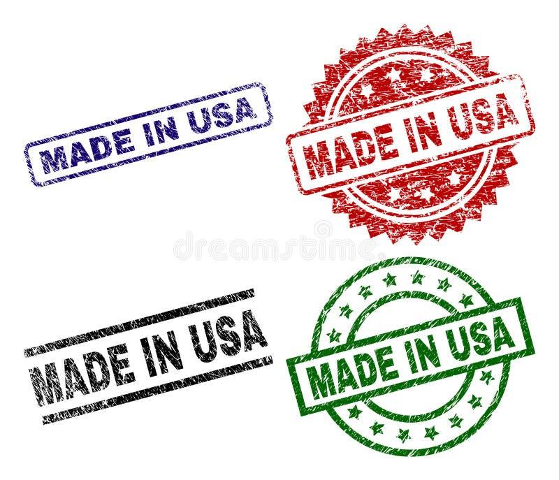 El Grunge texturizó HECHO EN sellos del sello de los E.E.U.U. libre illustration