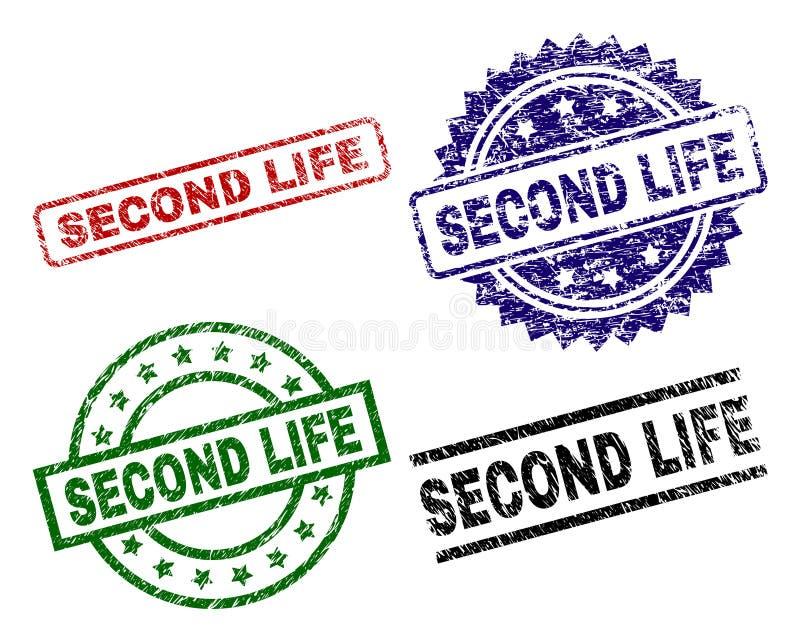 El Grunge texturizó los sellos del sello de SECOND LIFE stock de ilustración