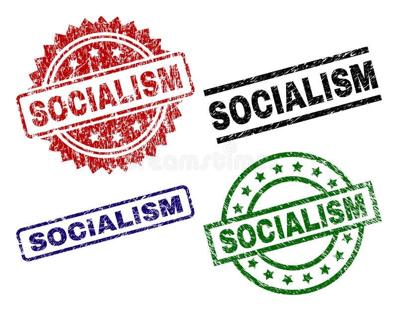 El Grunge texturizó los sellos del sello del SOCIALISMO ilustración del vector