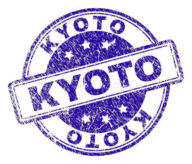 El Grunge texturizó el sello del sello de KYOTO stock de ilustración