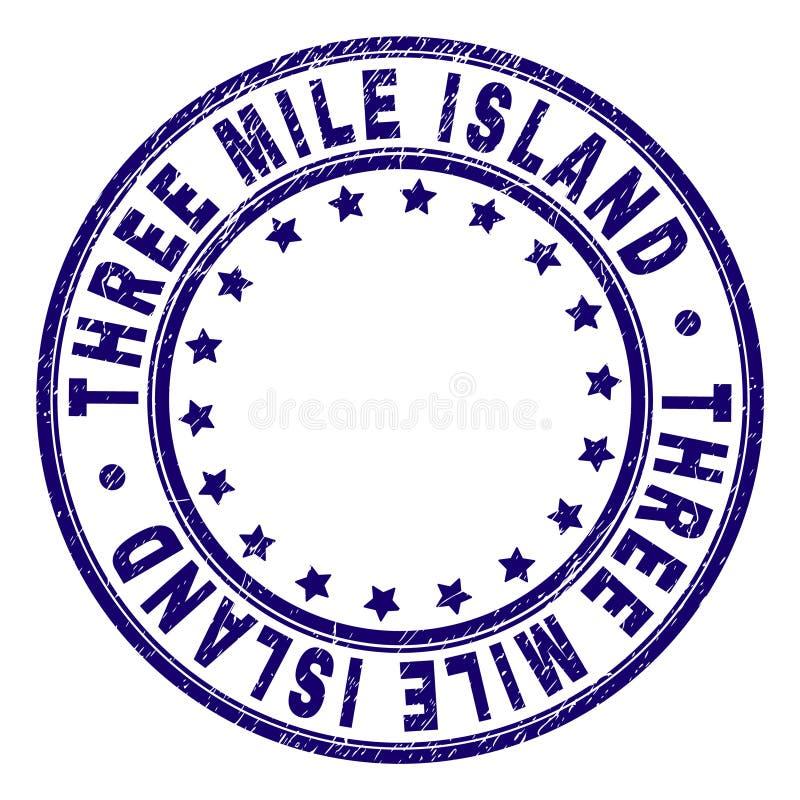 El Grunge texturizó el sello del sello de la ronda de TRES MILE ISLAND stock de ilustración