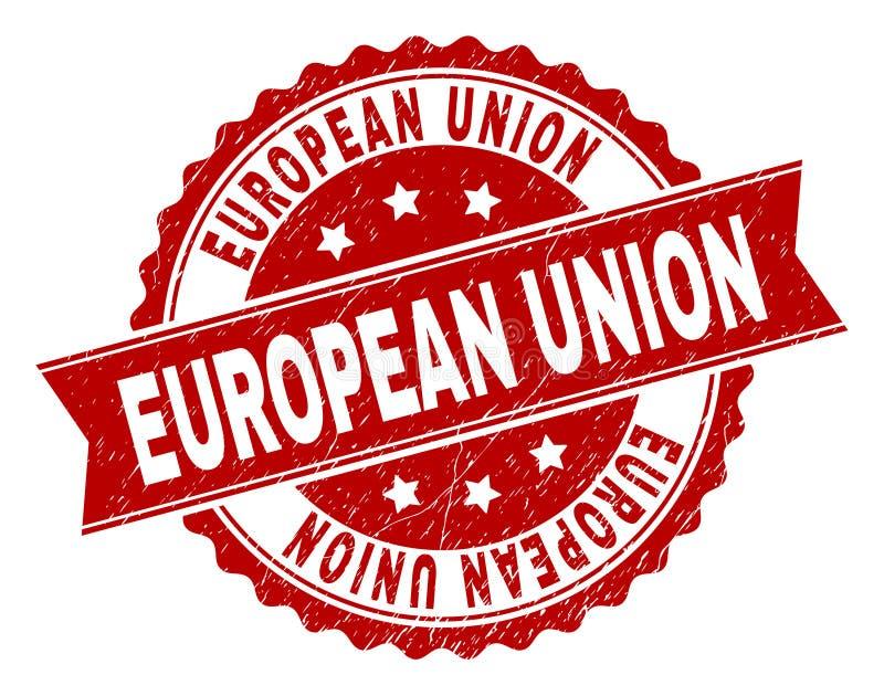 El Grunge texturizó el sello del sello de la UNIÓN EUROPEA stock de ilustración