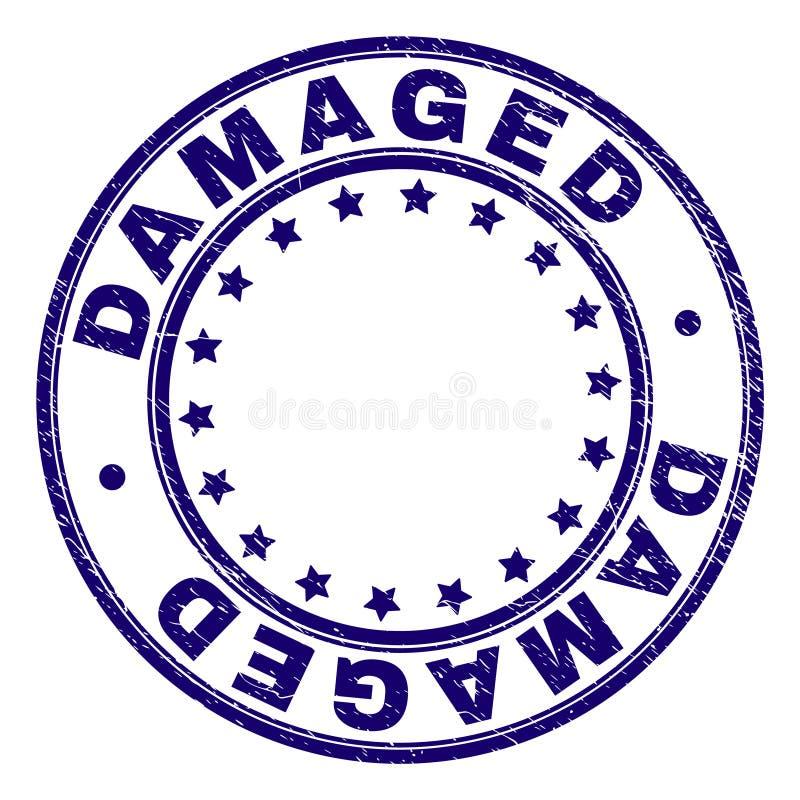 El Grunge texturizó el sello redondo DAÑADO del sello stock de ilustración