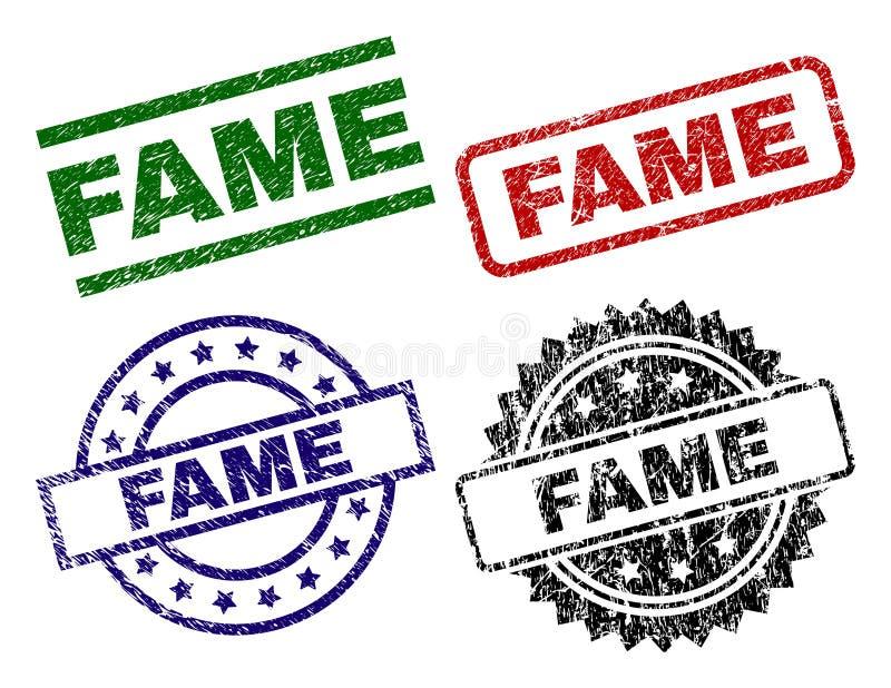 El Grunge texturizó sellos del sello de la FAMA stock de ilustración