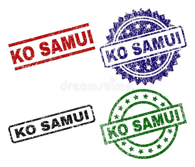 El Grunge texturizó sellos del sello del knock-out SAMUI stock de ilustración