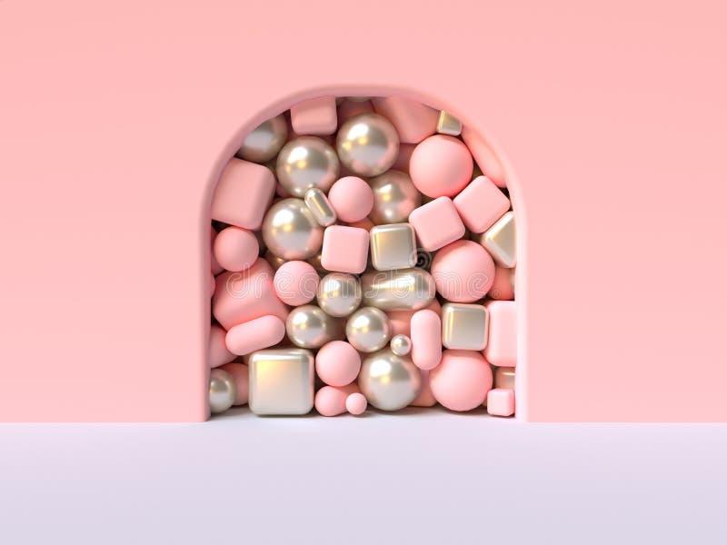 el grupo blanco de la puerta de la curva del extracto del piso de la pared del rosa de forma geométrica metálica rosada en 3d lat libre illustration