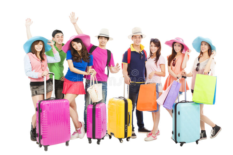 El grupo de amigos o los compañeros de clase está listos para viajar foto de archivo libre de regalías