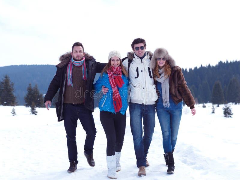 El grupo de amigos tiene la diversión y relajación el vacaciones del invierno imagen de archivo libre de regalías
