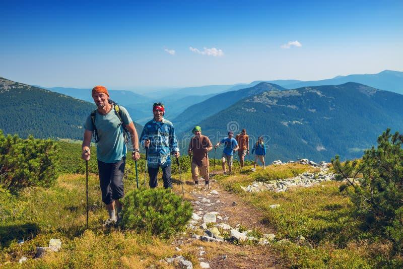 El grupo de amigos va a las montañas foto de archivo