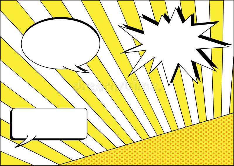 El grupo de conversación burbujea en fondos amarillos de la raya y del lunar libre illustration