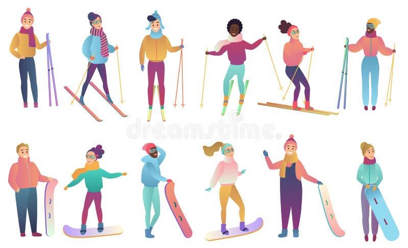 El grupo de esquiadores y de snowboarders lindos de la historieta en pendiente de moda colorea el ejemplo del vector stock de ilustración