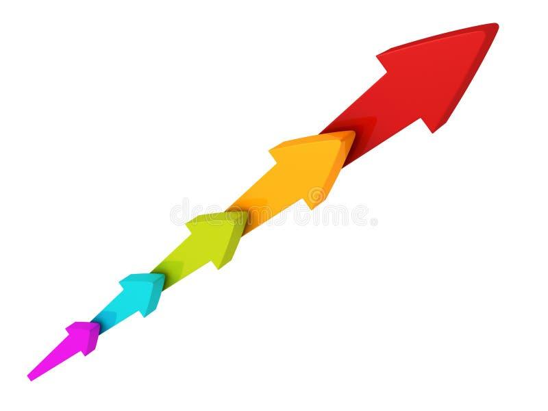 El grupo de flechas coloridas crece ilustración del vector
