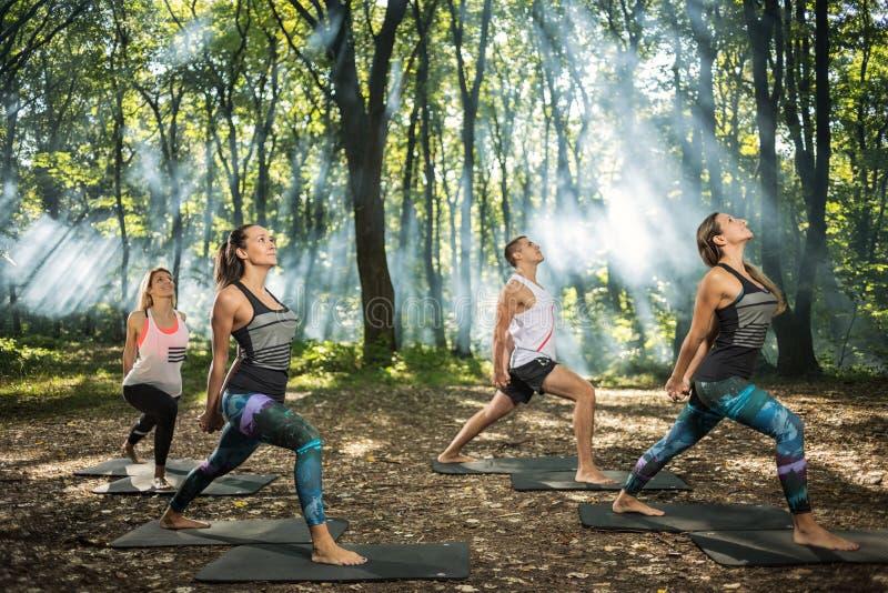 El grupo de gente joven mantiene forma que ejercita en bosque imagen de archivo