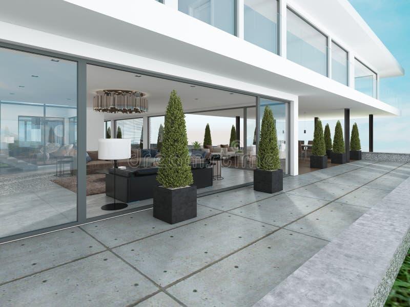 El grupo de la entrada de la casa moderna es estilo contemporáneo ilustración del vector