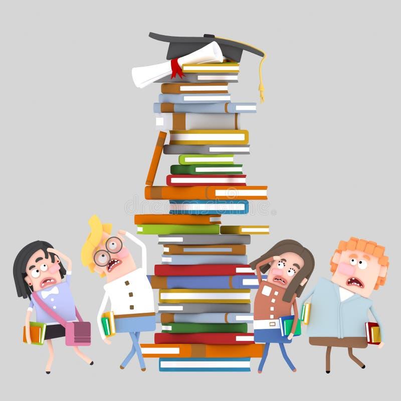 El grupo de mirada de los estudiantes se preocupó en la torre de los libros libre illustration