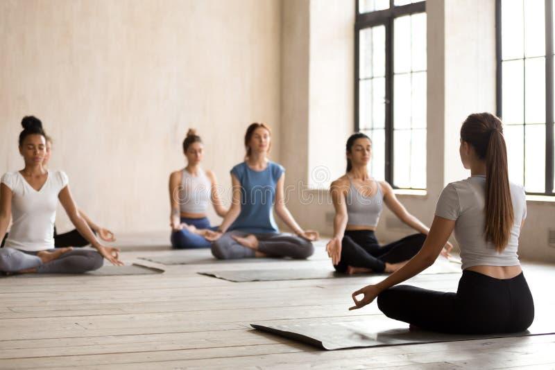 El grupo de mujeres jovenes que se sientan en la posición de loto medita fotografía de archivo