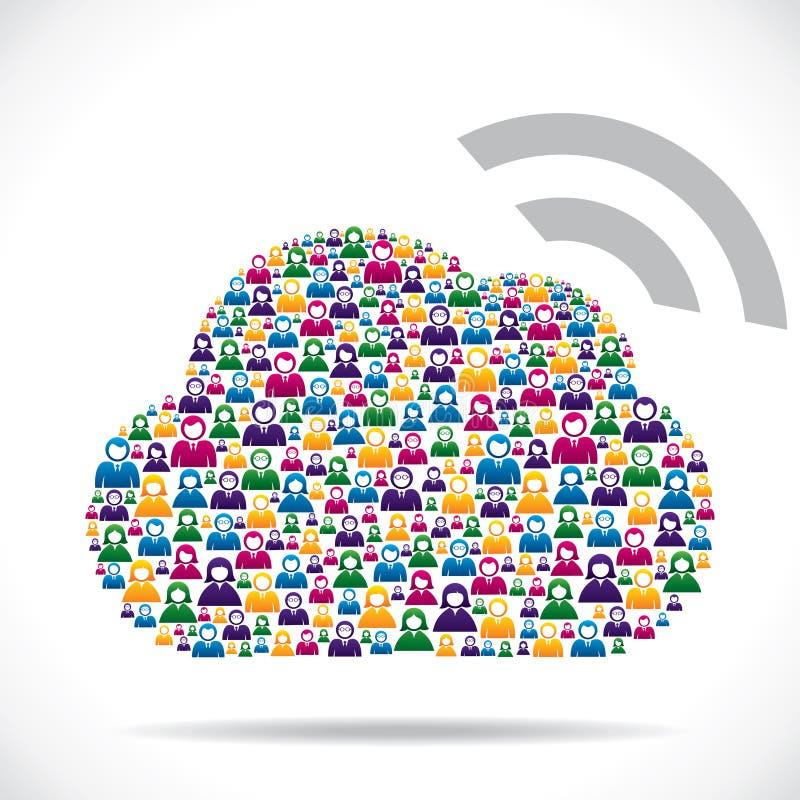 El grupo de personas hace la nube social de los media stock de ilustración