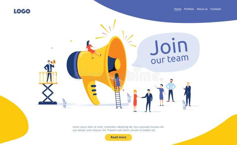 El grupo de personas que grita en el megáfono se une a nuestro concepto del ejemplo del vector del equipo Ejemplo plano del estil libre illustration