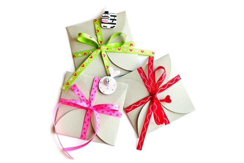 El grupo de tres regalos hermosos imagen de archivo libre de regalías