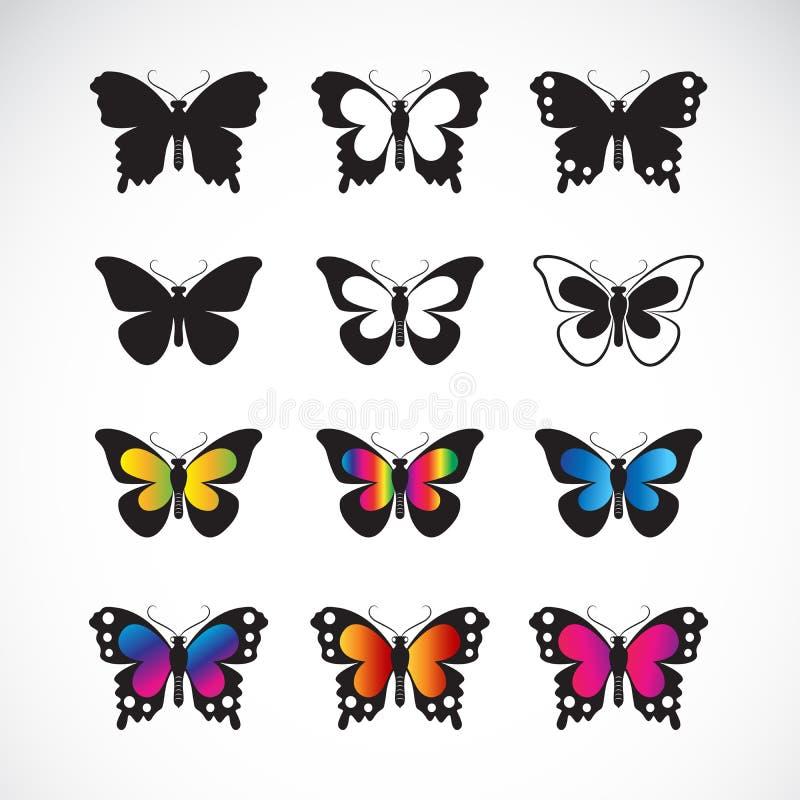 El grupo del vector de mariposas diseña en el fondo blanco Icono de la mariposa insecto Animal Ejemplo acodado editable f?cil del stock de ilustración