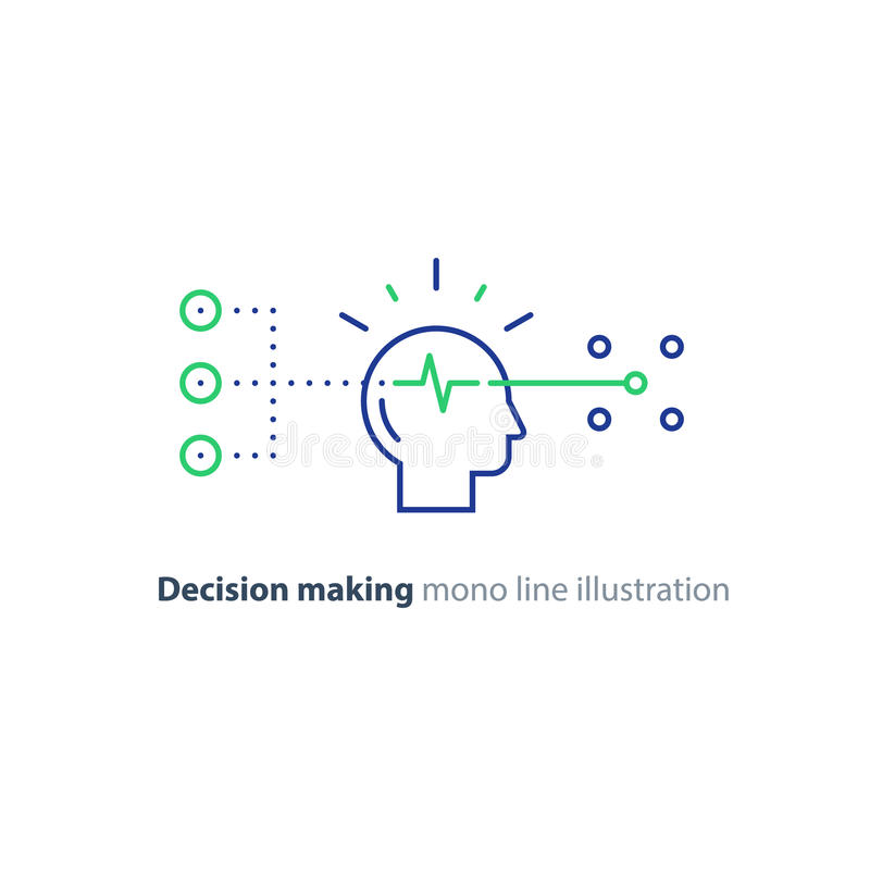 El grupo destinatario, toma de decisión, concepto diagonal, elige las opciones, pensamiento creativo stock de ilustración
