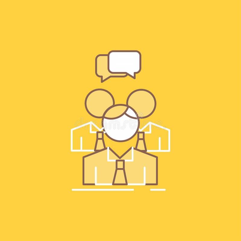 el grupo, negocio, reunión, gente, línea plana del equipo llenó el icono Bot?n hermoso del logotipo sobre el fondo amarillo para  libre illustration