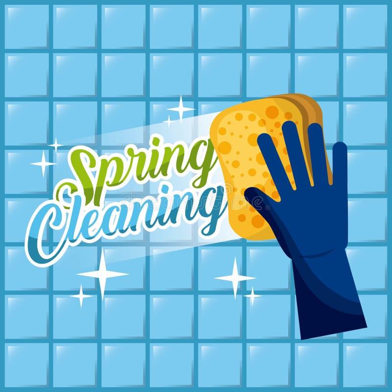 El guante azul Spring cleaning con la esponja lava las tejas de la pared stock de ilustración