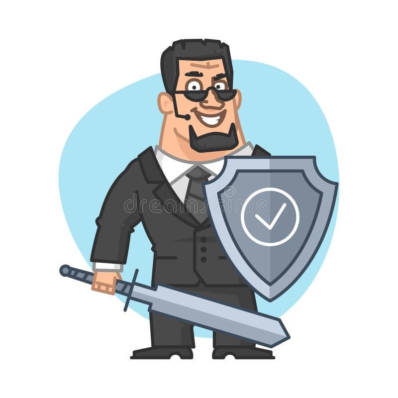 El guardia sostiene el escudo y la espada ilustración del vector